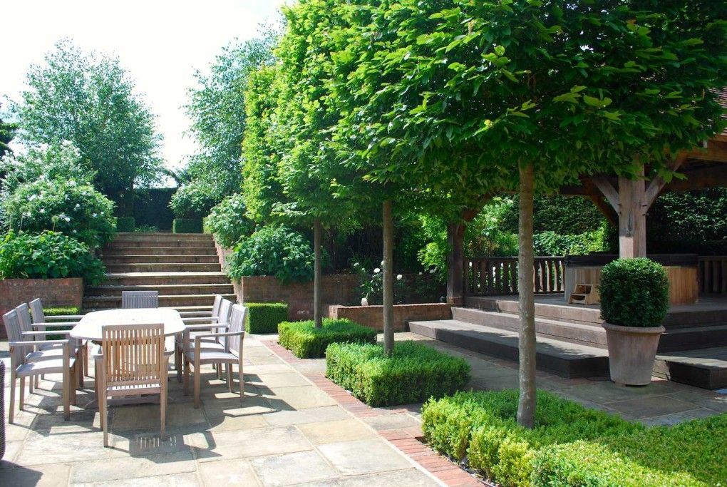 Old York Stone And Reclaimed Brick Terrace Garden Ideas