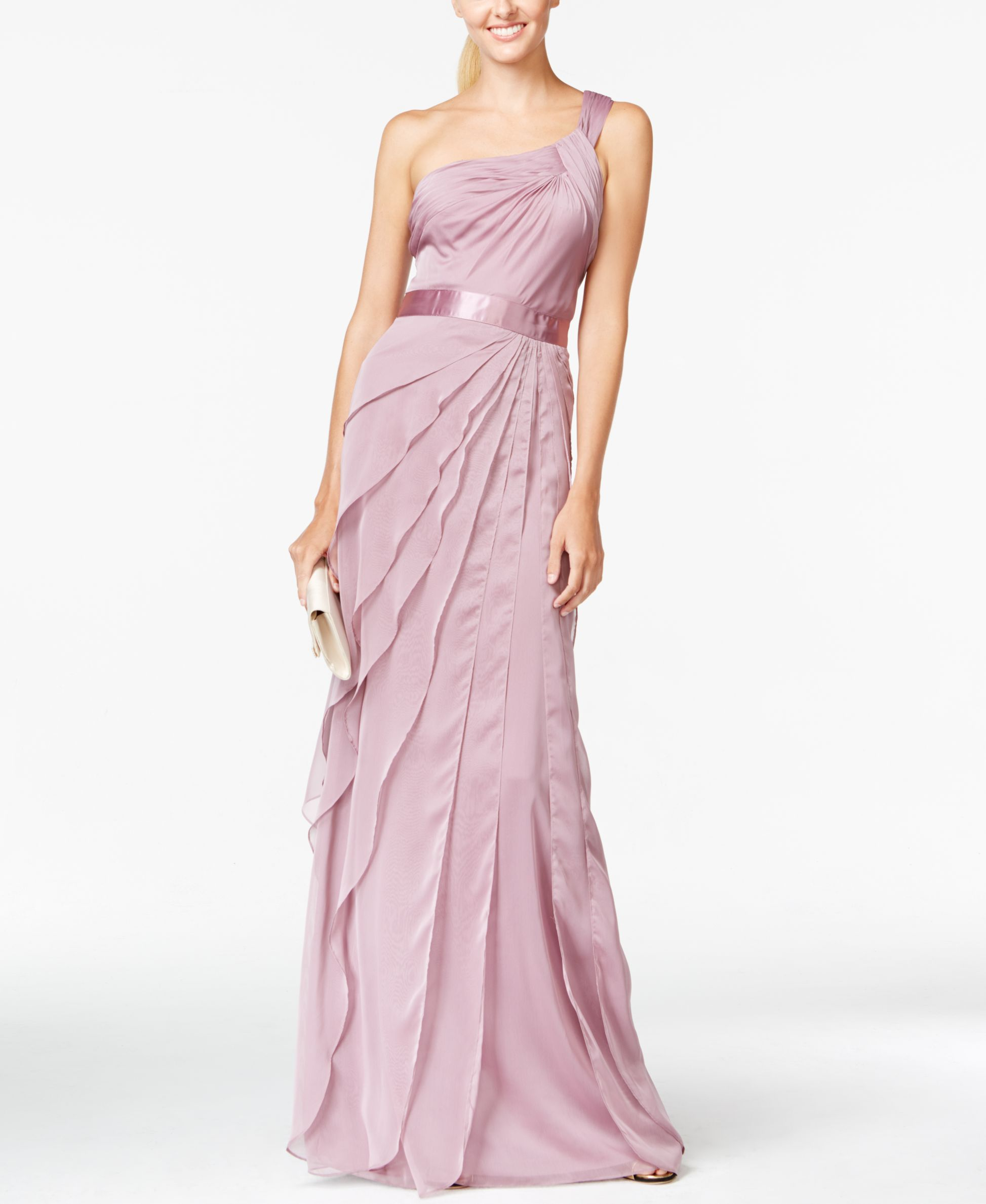 Bridesmaids adrianna papell oneshoulder tiered chiffon gown