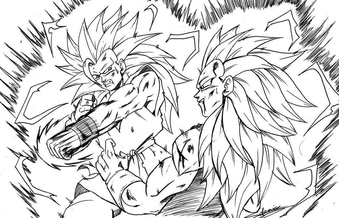 Goku Ssj3 Vs Vegeta Ssj3 By Chibidamzdeviantartcom On At Deviantart