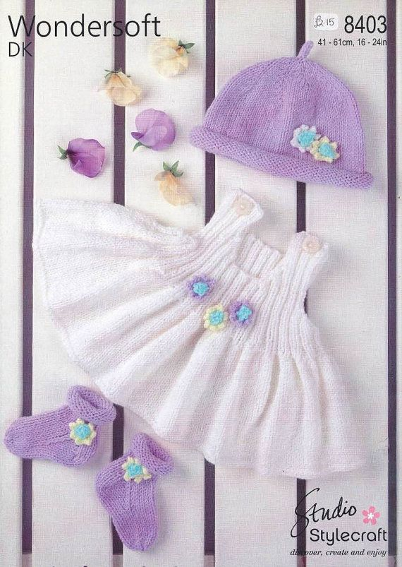 baby / girls knitting pattern for baby set birth to 4 years double ...
