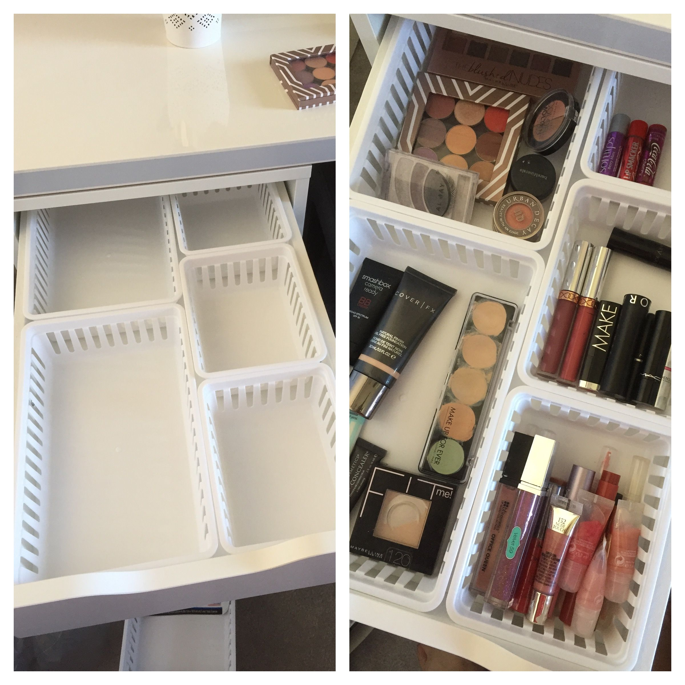 Walmart Makeup Storage Ideas for IKEA Alex Drawers   makeup storage with  MainStays kitchen storage trays from Walmart fit perfectly in Alex drawers. Walmart Makeup Storage Ideas for IKEA Alex Drawers   Vanities
