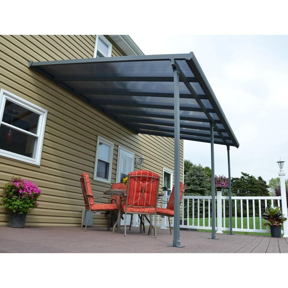 Palram Feria 10 Ft X 14 Ft Grey Patio Cover Awning 702723 The Home Depot Patio Outdoor Remodel Patio Canopy