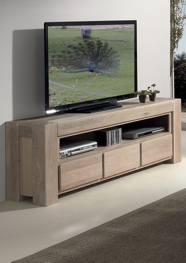 scandinave meuble tv chene massif