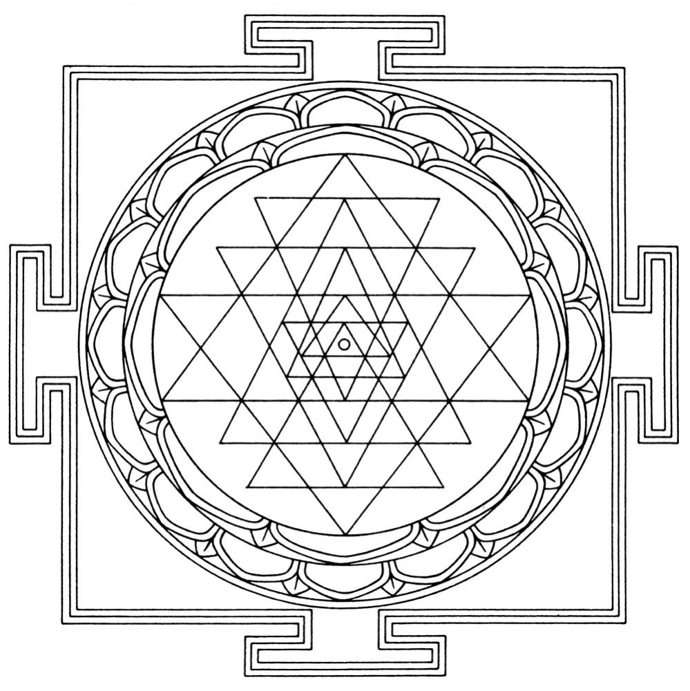 Sri Yantra Leinwand Malvorlage - Leinwandbild auf Keilrahmen zum ...