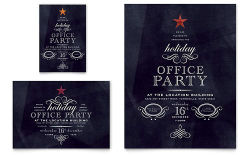 Cool Holiday Party Invitation  Typography Love