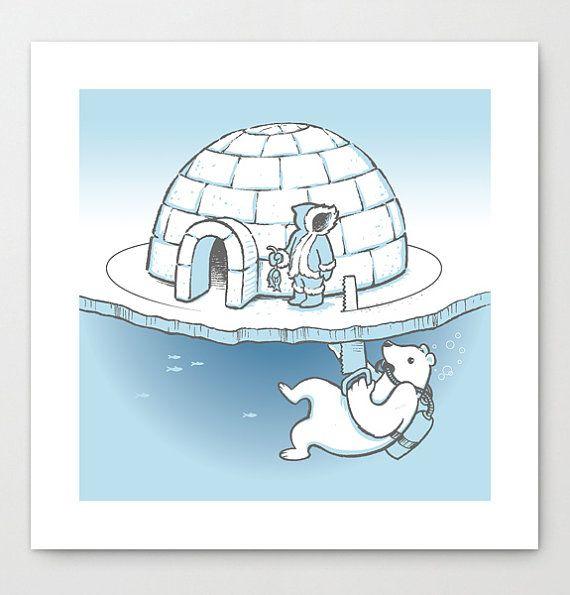 Sneak Attack! - Polar Bear vs Eskimo Art Print