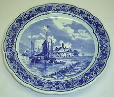 """Vtg Royal Sphinx Maastricht Holland Delft 12"""" Plate Plaque Charger w Boats Ships"""