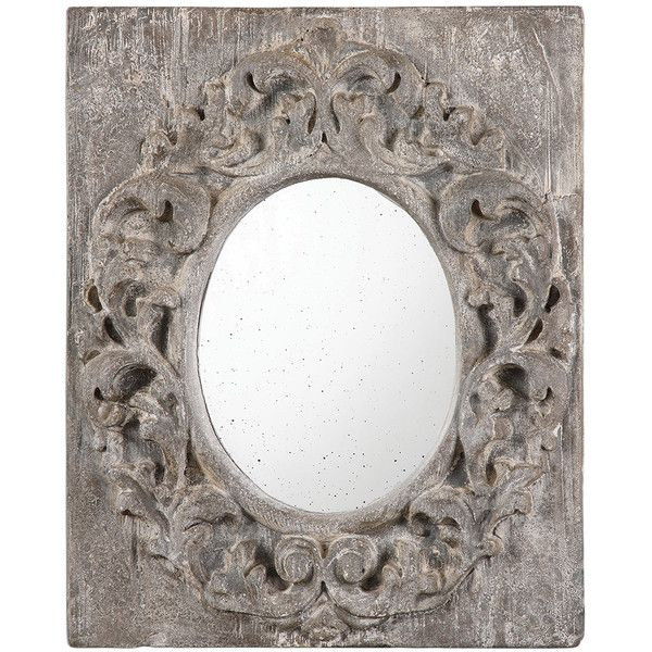 Aged Gray Ornate Mirror ($249) ❤ liked on Polyvore featuring home, home decor, mirrors, leaf mirror, aged mirror, distressed home decor, grey mirror and gray home decor