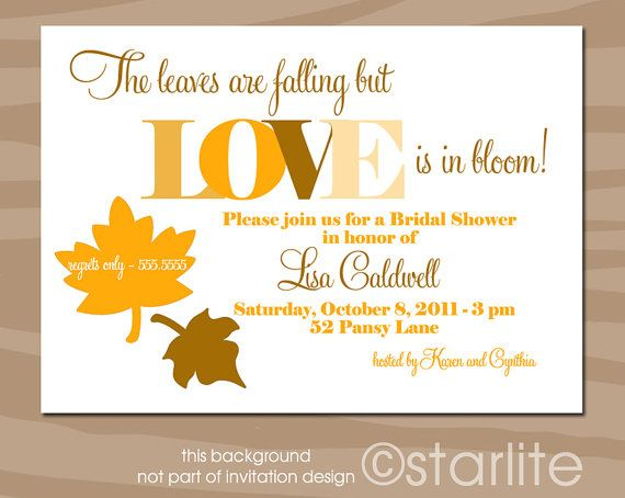 Fall theme autumn theme bridal shower invitation fall colors leaves printable invitation - Bridal shower theme ideas for fall ...
