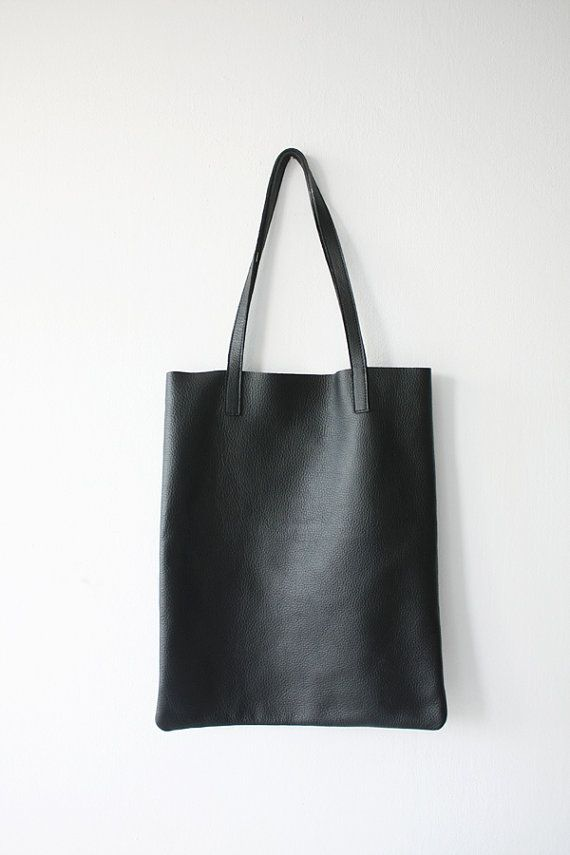 This Is Anya Shes A Slim Basic Black Leather Tote Bag