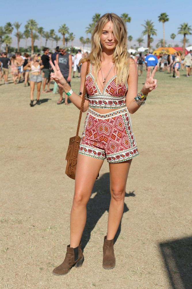 Matching crop top and shorts combo at Coachella ...