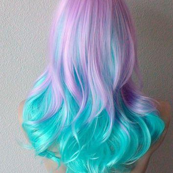 Halloween Special Lavender Mint Blue Color Wig Medium Length