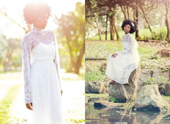 Vintage Long Sleeve Lace Wedding Dress with by TheLoveBucketSA, $220.00