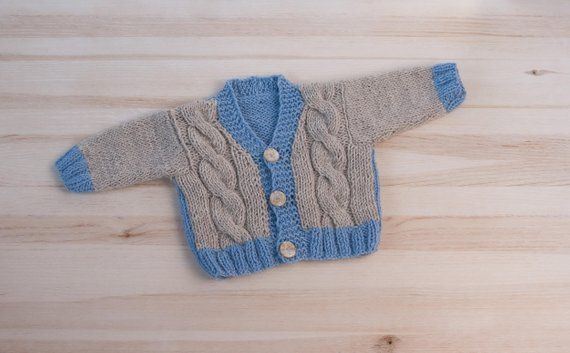 21ee44e8b9316 Beige blue baby hand knitted cardigan 6 to 12 months boy kids ...