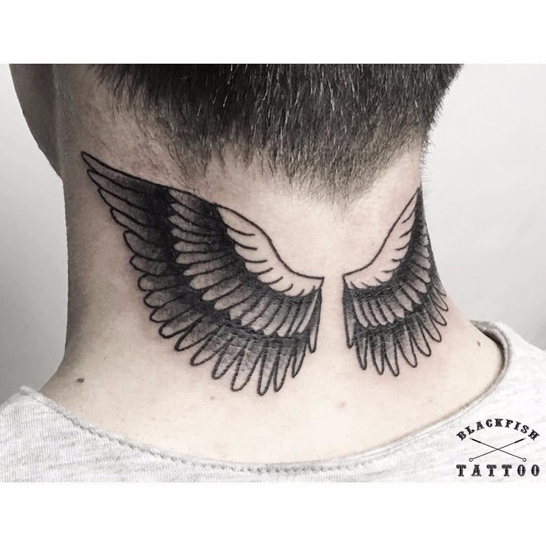 Black Eagle Winged Neck Tattoo Neck Tattoos Wing Neck Tattoo