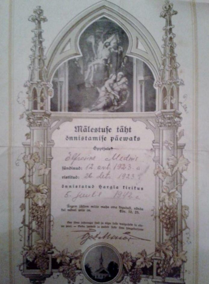 My mothers Baptism certificate Hargla Lutheran Church Estonia - baptism certificate
