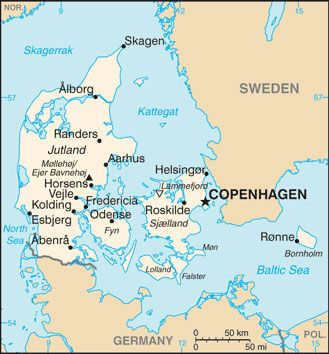 Denmark map Dnsko Pinterest Denmark map Denmark and Country maps