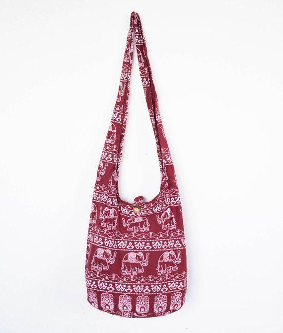 382fc986431c Elephants Sling Boho Shoulder Bag CrossBody Bag Messenger Bag Cotton Bag  For Hippie Gypsy Travel Yog