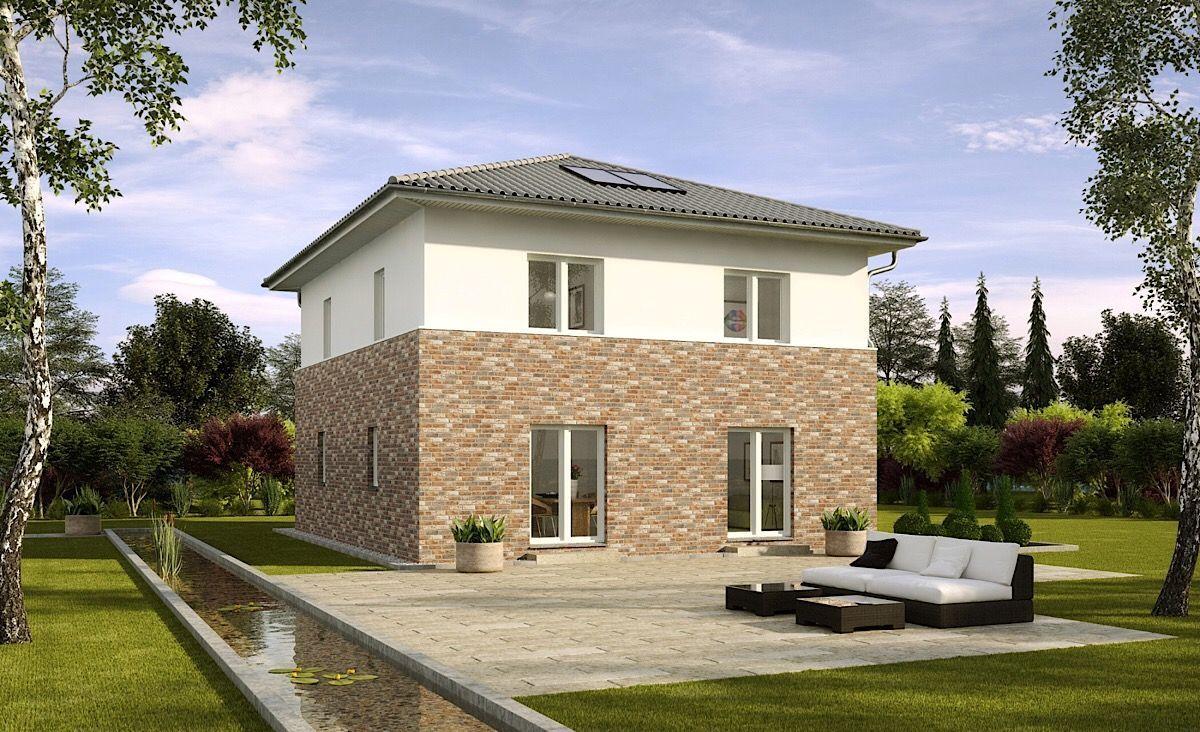 Stadtvilla Neubau modern mit Klinker Putz Fassade
