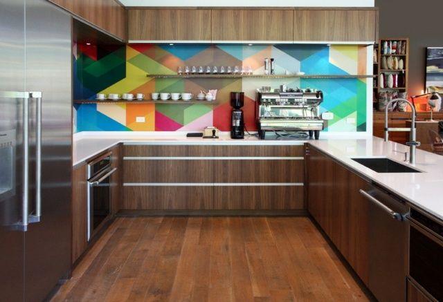 moderne Küche - Rückwand mit geometrischen Mustern - spritzschutz folie k che
