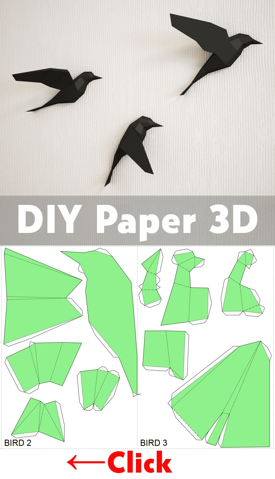 Diy paper birds on wall 3d papercraft easy paper model sculpture diy crafts paper projects papercraft ideas how to make 3d birds diy house solutioingenieria Images