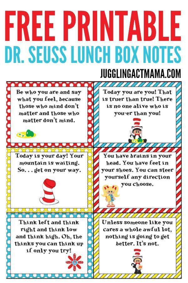 Dr. Seuss Lunch Box Notes Printable – free download images