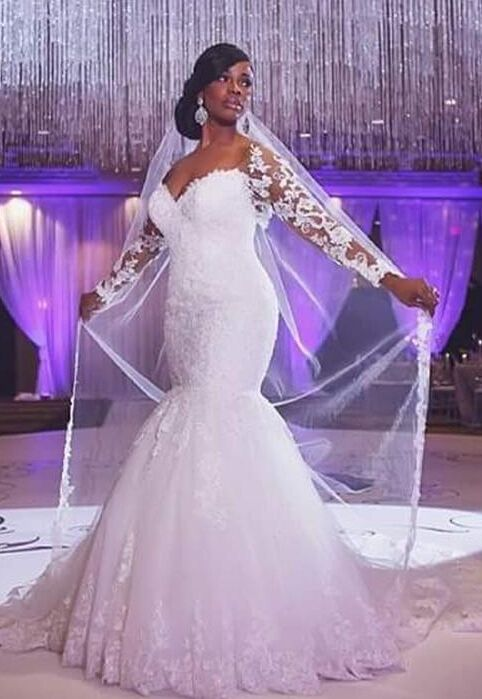 f1ea17e1267 Glamorous Off-the-shoulder Long Sleeve Mermaid Wedding Dress With Appliques