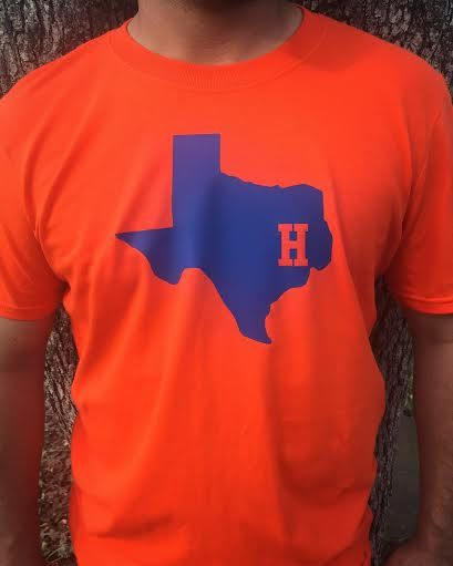 504bc334354 MLB Houston Astros Team Colors Baseball Adult T-Shirt Gildan Custom Soft  Fitted Tee Orange Blue