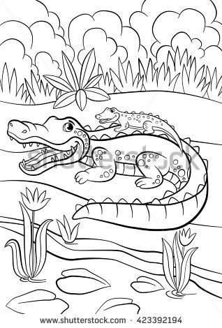 Coloring Pages Animals Mother Alligator With Her Little Cute Baby Alligator Sitting In Her Back Animal Coloring Pages Coloring Pages Cute Coloring Pages