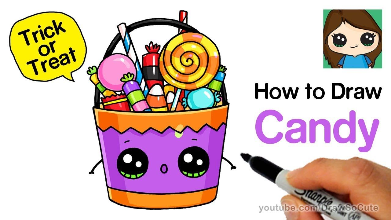 How To Draw A Trick Or Treat Candy Bucket Easy Youtube With