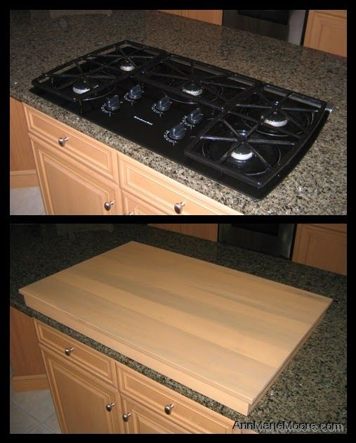 Increase Your Counter Space With A Custom Stove Top Cover Note Make Sure The Pilot Is Off And No Residual Diy Kitchen Island Apartment Kitchen Trendy Kitchen