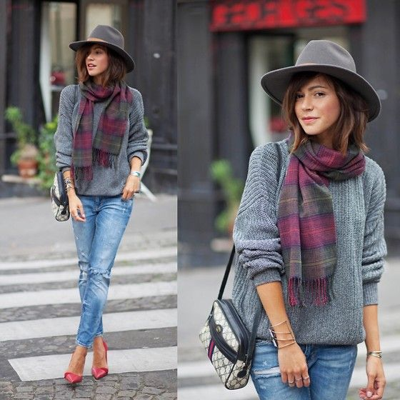 Urban Outfitters Scarf, American Apparel Pullover, Gucci Bag, Zara Shoes, Urban Outfitters Hat