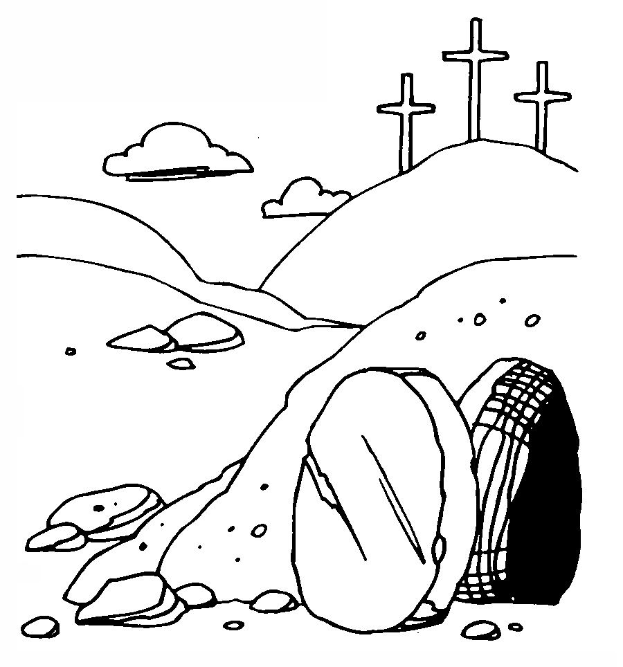Coloring picture of jesus empty tomb