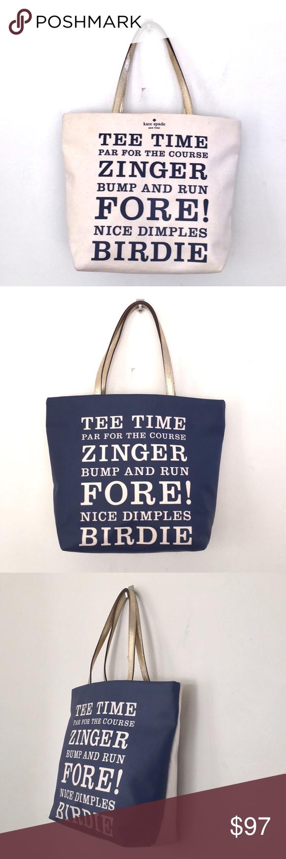 Kate Spade Tee Time Birdie Golf Tote Bag 2 Sided In 2020 Tote Bag Kate Spade Tees Time