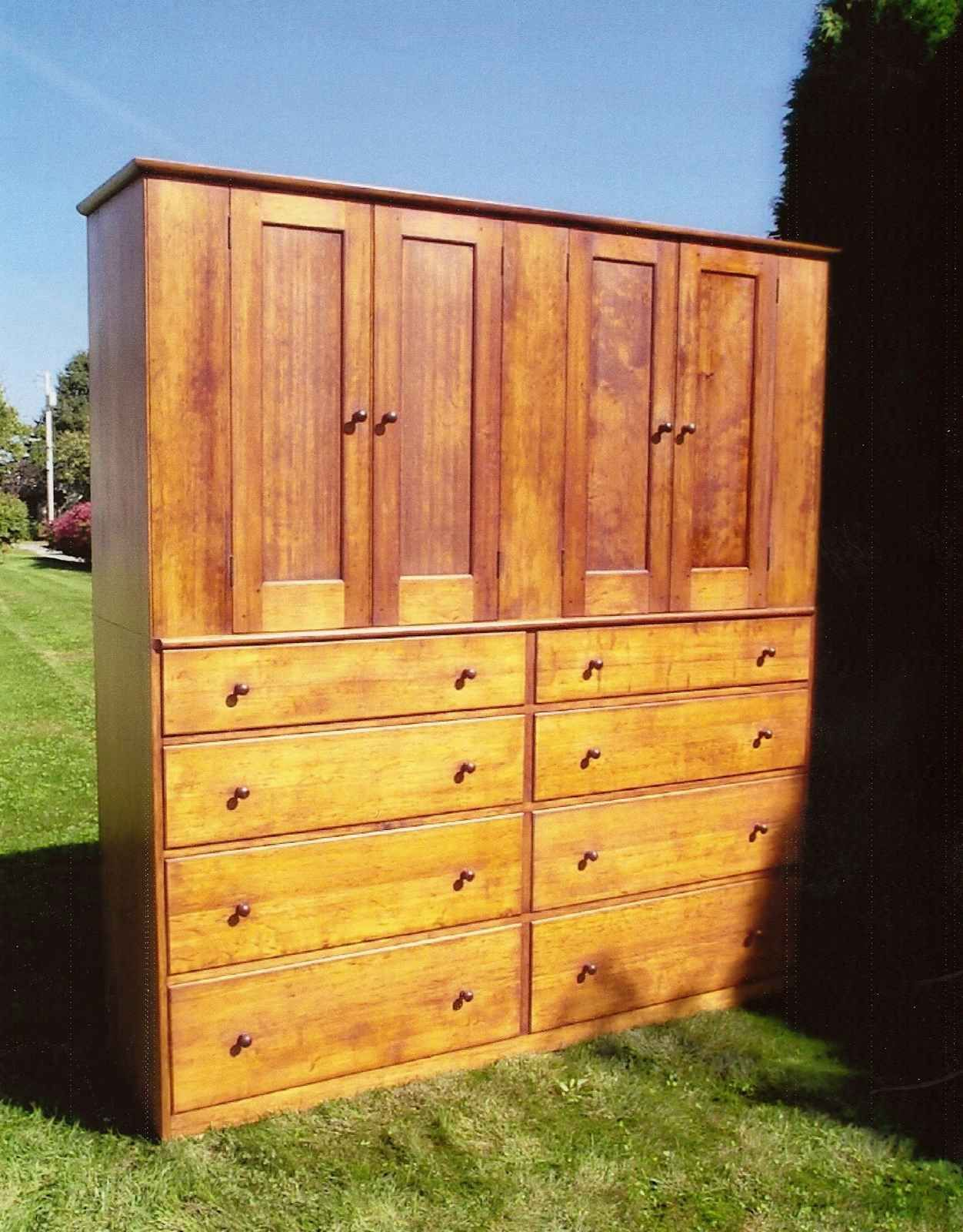 SHAKER FOUR DOOR CUPBOARD OVER EIGHT DRAWERS   early american ...