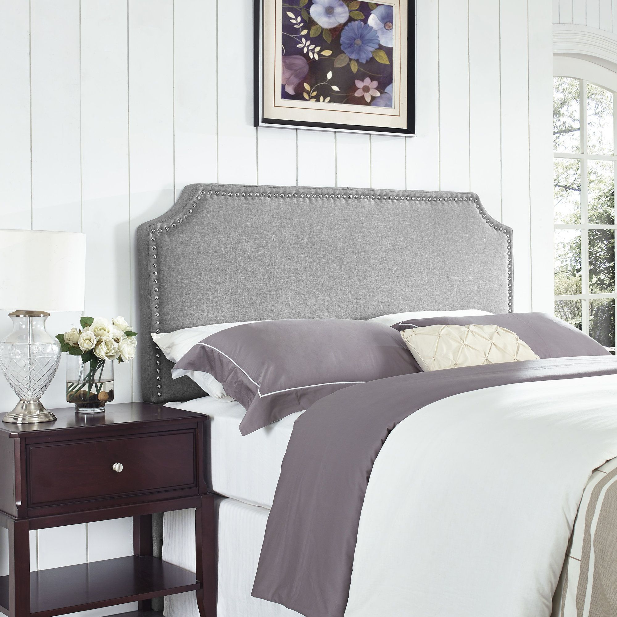 Luna Nail Trim Upholstered Panel Headboard | Products | Pinterest