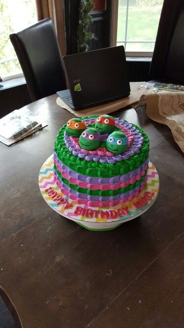 Ninja turtle cake for a girls 3rd birthday by Denise McAllister