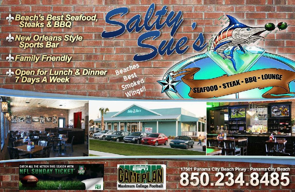 Salty Sue S Seafood Oysters Steak Bbq Restaurant Panama City Beach Panama City Beach Restaurants City Beach