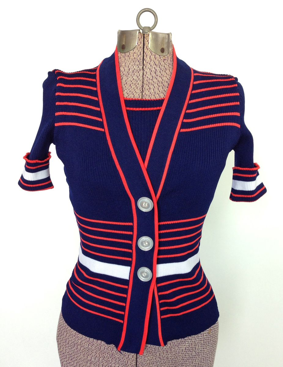 Vintage 1970s Sweater Set Navy Red Stripe | Shops, Stripes and Red