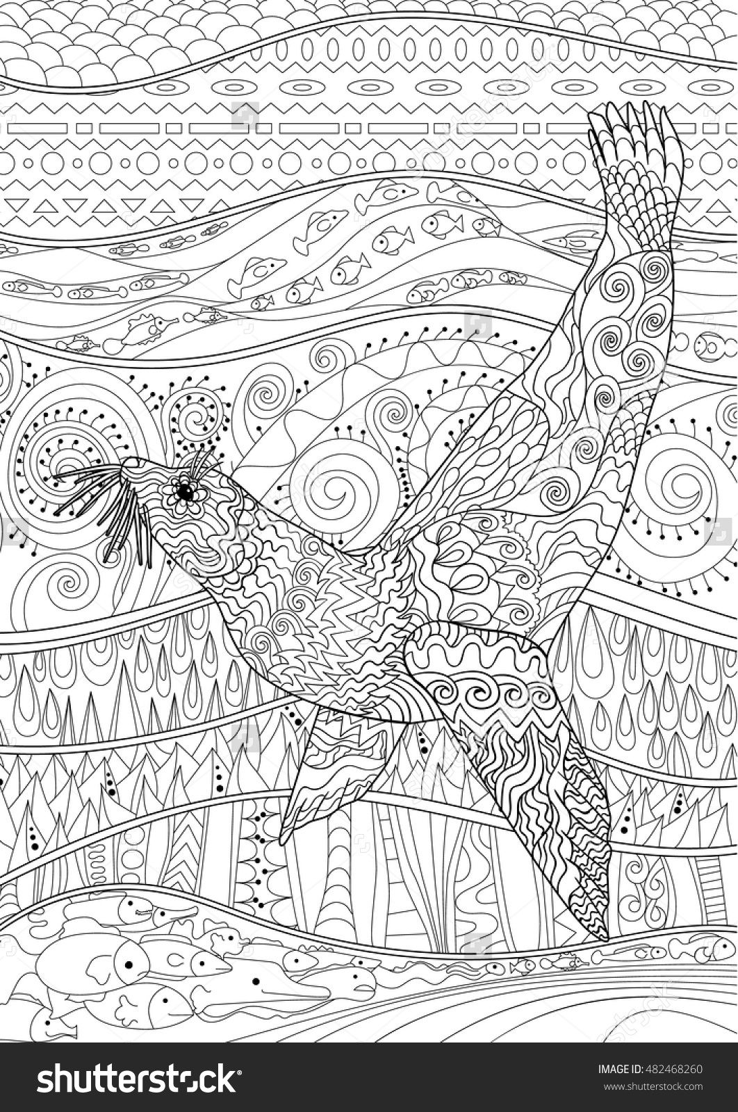 hand drawn swimming seal coloring page zendoodle style