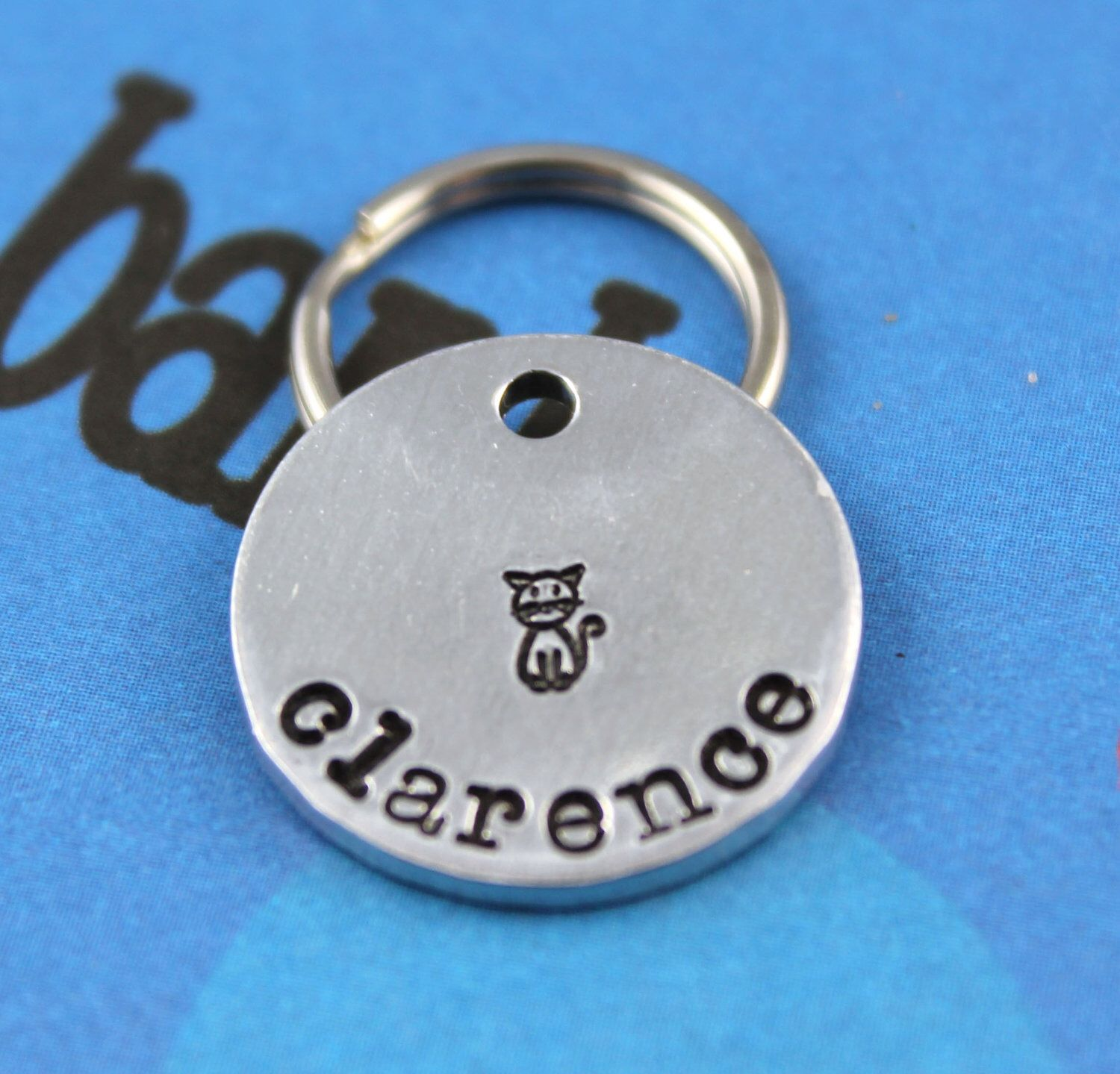 SMALL Cat Tag Aluminum Customized Pet Tag HandStamped