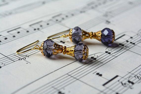 Beaded Jewelry Purple Beaded Earrings Gold Crystal by Jalycme
