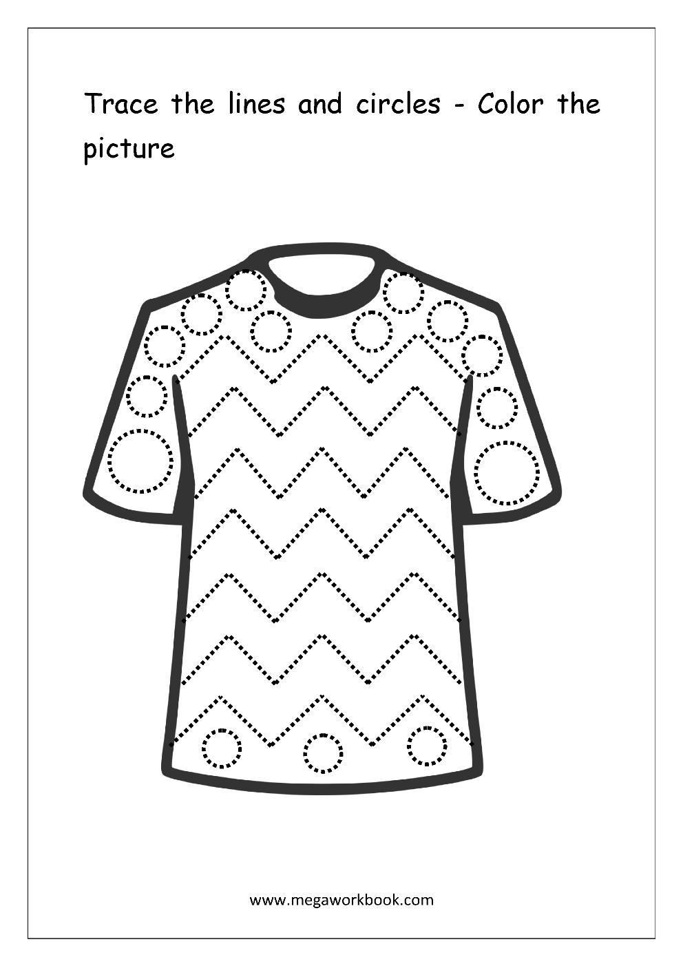 line tracing t shirt worksheet 5 patterns pre. Black Bedroom Furniture Sets. Home Design Ideas