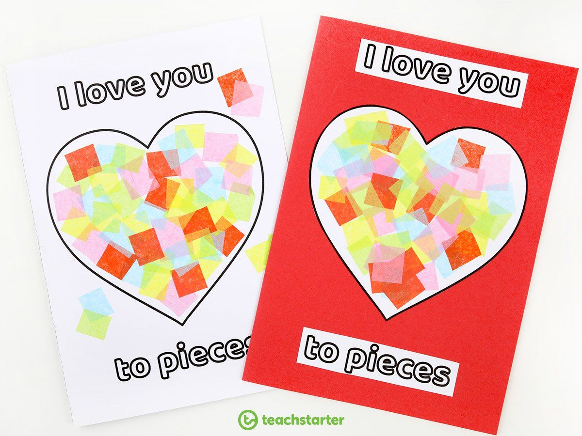 I Love You to Pieces Card Teaching Resource  Teach Starter in