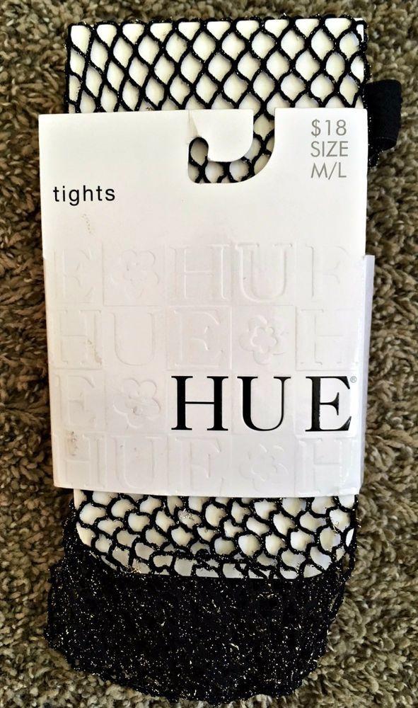 1f0142b1b0d4c Hue NEW Women's Black Gold Metallic Fishnet Tights M/L | For Sale ...