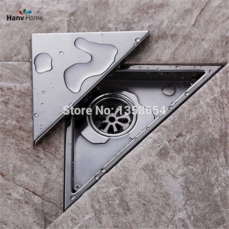 Hidden Type Triangle Tile Insert Floor Waste Grates Bathroom Shower Drain 304 Stainless Steel Floor Drain Shower Drain Chrome Bathroom Floor Drains
