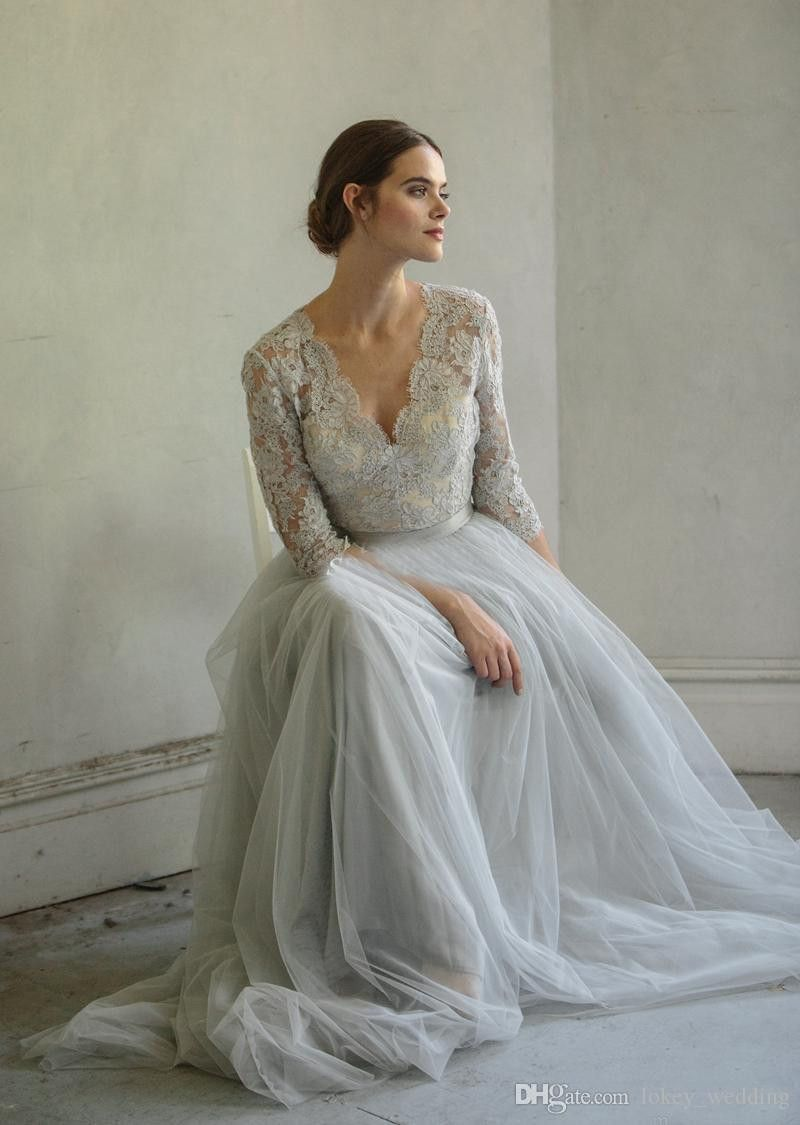 Impressionnante Robe De Mariee Grise Lace Wedding Dress Vintage Half Sleeve Dresses Grey Wedding Dress [ 1125 x 800 Pixel ]