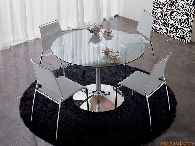 mesa cristal y acero