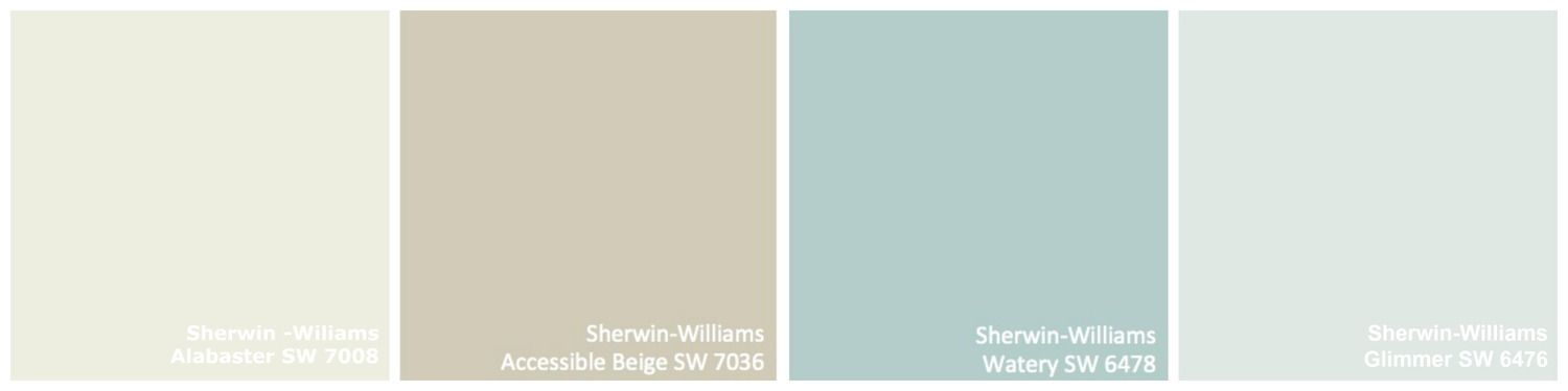 Color Pallette Alabaster Accessible Beige Watery Glimmer Sherwin Williams
