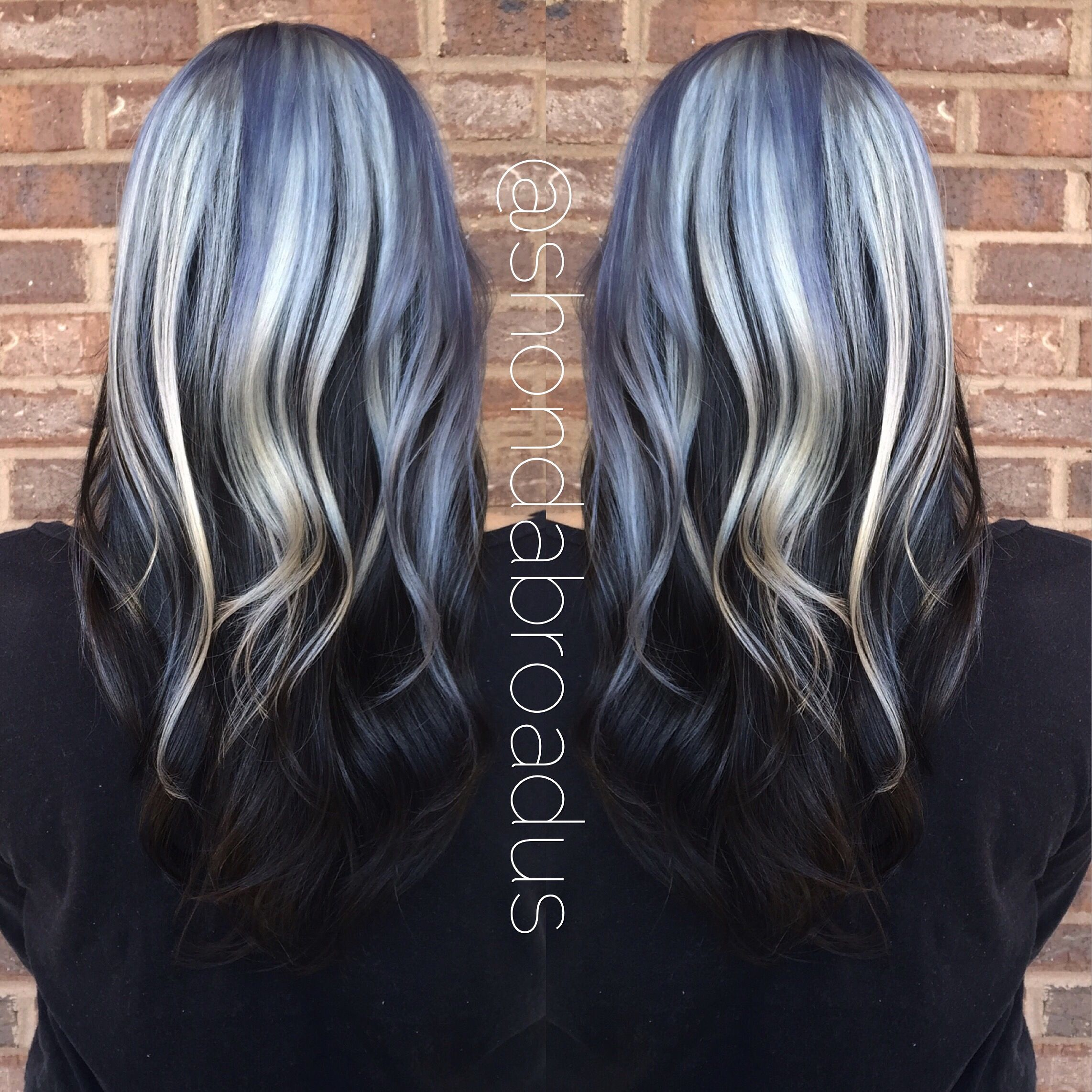 How To Ice Princess Featuring Shades Of Blue And Silver Highlights Brown Hair With Silver Highlights Silver Hair Hair
